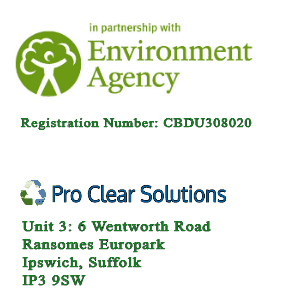 Logo and Address Pro Clear Solutions 6 Wentworth Road, Ransomes Europark, Ipswich, Suffolk, IP3 9SW